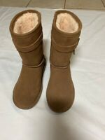 Bearpaw Womens Val Winter Boots Brown Mid Calf Sheepskin Footbed Pull On Suede 6