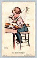 "Katharine Gassaway - Boy "" The Book Keeper"" c1907 Postcard"