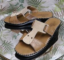 FLY FLOT BROWN LEATHER SANDALS OPEN TOE MULES DRESS HEELS WOMENS SZ 7.5 8 EU 38