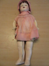 "Eih Horseman Celluloid Doll with Pink Dress and Bonnett 16"""