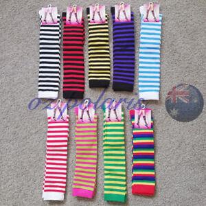 KNEE HIGH SOCKS Plain Striped Girls Ladies Long Womens Stripey Stocking