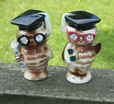 Vtg 1956 Geo Lefton Owl Jewel Eyes Wisdom Hand Painted Signed Graduation Shakers