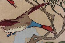 """MULBERRY CURTAIN/UPHOLSTERY FABRIC DESIGN """"Flying Ducks Velvet"""" 1 METRE CAMEL"""