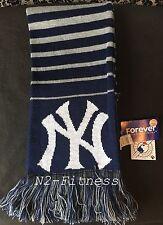 MLB NEW YORK YANKEES REVERSIBLE SCARF ACRYLIC KNIT  BLUE WHITE  NY LOGO NWT