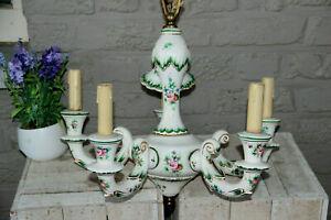 French vintage porcelain Floral chandelier 1960