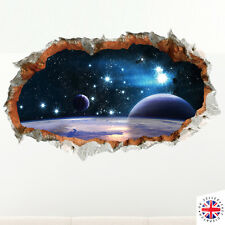 3D SPACE FANTASY WALL Sticker Decal Decor Poster Art STARS GALAXY PLANETS