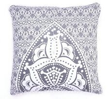 Indian Grey Cotton Block Print Cushion Cover Living Room Pillow Throw Case