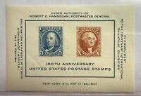 1947 100TH ANNIVERSARY U.S POSTAGE STAMPS **MNH** SOUVENIR SHEET IN DISPLAY