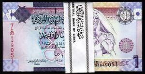 Libya 1 Dinar 2009, UNC, BUNDLE Pack 100 PCS, Consecutive, P-71 Muammar Gaddafi