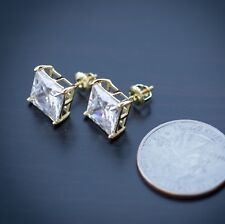 14K Gold Large Princess Cut High End CZ Stud Earrings With Screwback