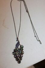 VTG Necklace Peacock pendant, long chain, silver metal multi color beading fthr