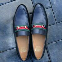 Men Loafer Slip On Horse bit Black Casual Handmade Luxury Calf Leather Shoe Guc