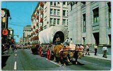 CALGARY, ALBERTA Canada   8th AVENUE STREET SCENE  Oxen Buffalo c1960s  Postcard