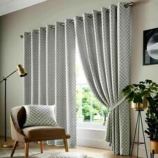 """SALE 66"""" x 90"""" Drop EYELET Cotswold geometric Lined Pair Curtains SILVER GREY 8"""