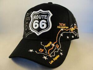 Route 66 Map Adjustable Strap Hat Cap Black