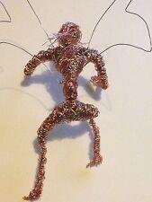 Fairy Copper Wirework Sculpture, Climbing Elf, Unique Handmade Garden Sculpture