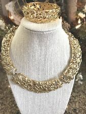 VTG RUNWAY Statement 80s WIDE Choker NECKLACE Bracelet MONET Couture Jewelry