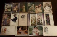 Lot of 16 Pretty Ladies ~Vintage Lady Women Antique Postcards-a-49