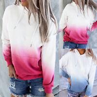 ️Women Gradient Long Sleeve Casual Hooded Sweatshirt Hoodie Pullover Jumper Top