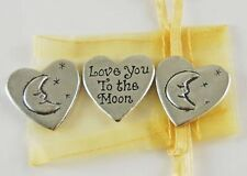 Heart Shaped Love You To The Moon Inspiration Coins - Set of 3 with Organza Bag