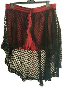Bäres Gothic/Burlesque Double-Layered Satin & Lace Asymmetric Skirt, Free Size