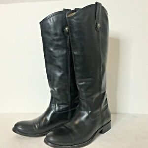 FRYE MELISSA BUTTON Women 7.5 BLACK SOFT Leather Extended Calf TALL Riding BOOTS
