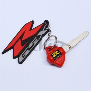 New 3D Soft Rubber Motorcycle Blade Uncut Key+Ring Keychain For Suzuki GSXR