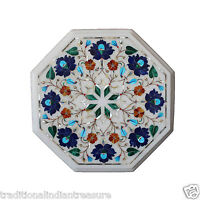 """12"""" Marble Coffee Lapis Lazuli Side Table Top Marquetry Home Decor Mosaic  Art"""