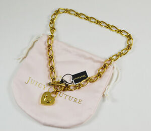 NEW Juicy Couture Heart Padlock Starter Necklace Gold Color
