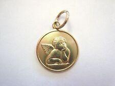 Small Vntg 14K Yellow Gold Medallion w/ Guardian Angel Cherub Pendant Charm