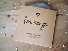 10x personalised CD cover / sleeve wedding favour for music lovers / music theme
