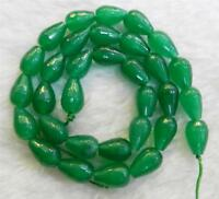 """Green 8x12mm Faceted Emerald Drop Gemstone Loose Beads 15"""" AA"""
