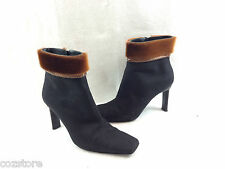 Di Sandro Ankle Boots Fabric Fur Boots Italy Womens Size EU 37.5 US 6.5