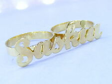 PERSONALIZED 14K GF HIGH POLISH TWO 2 FINGER NAME RING
