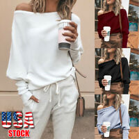 USA Womens Off Shoulder Baggy Ladies Tops Loose Blouse Oversized Sweater Jumper