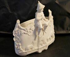 Beautiful European Antique Bisque Porcelain Boy Figurine Intricate Detail  Vase