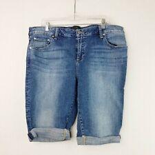 Lucky Brand Womens Ginger Bermuda Jean Shorts Hi Rise Plus Size 18W Cuffed