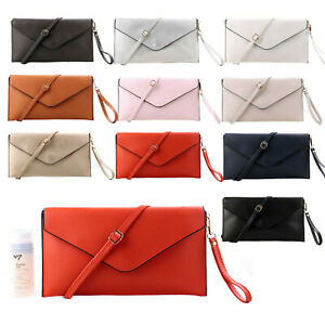 Womens Large Envelope Clutch Evening Bag Oversize Wedding Prom with Long Strap