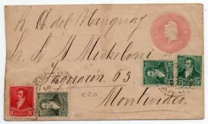 1890´s ARGENTINA TO URUGUAY COVER, SCARCE UPRATED STATIONERY, LOOK !!