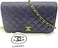 CHANEL Navy Quilted Lambskin Matelasse Pushlock Flap Chain Shoulder Bag France