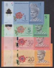 Set 4pcs Malaysia 1 5 10 & 20 Ringgit (2012) P51 P52 P53 P54 UNC