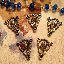 5 Large Rosary Centers Bronze Tone