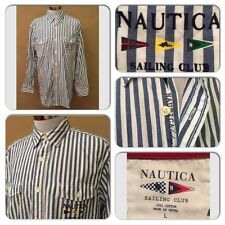EXC COND VINTAGE NAUTICA SAILING CLUB MENS LARGE EMBROIDERED L/S BUTTON UP SHIRT