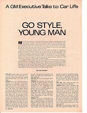 1966 CHARLES JORDON - GENERAL MOTORS DESIGNER ~ ORIGINAL 4-PAGE ARTICLE