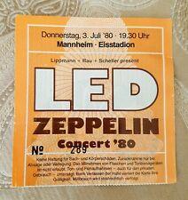 Original July 3, 1980 - Led Zeppelin Manheim Germany Last Concert Tour Ticket