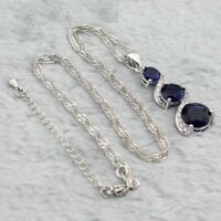 Blue Sapphire 925  silver drop pendant necklace free gift box
