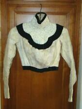 Edwardian 19thc. Windowpane Netting & Velvet Long Sleeve Hi-Collar Boned Blouse