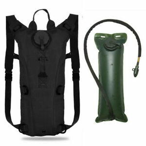 Tactical Hydration Backpack 3L Bladder Water Bags Hunting Climbing Hiking Black