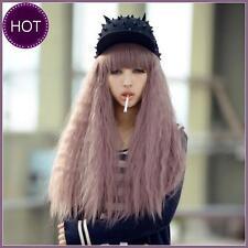 New Harajuku Lolita Long Corn Curly Wavy Full Wigs Hair Cosplay Taro Purple Wig