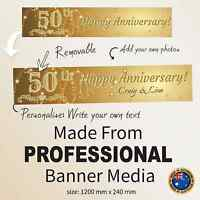 50th Golden Wedding Anniversary Canvas Party Banner Decorations  Personalised